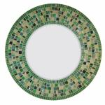 Round Mosaic Mirror - #C17 Materials:  Stained Glass, Glass Mosaic Tile, Glass Gems Colors:  Emerald Green, Green, Tan