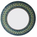 Round Mosaic Mirror - #C16 Materials:  Glass Mosaic Tile, Metal Beads Colors:  Deep Blue, Lime Green, Copper