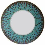 Round Mosaic Mirror - #C19 Materials:  Iridescent Glass Mosaic Tile Colors:  Amber Brown, Sky Blue, Sea Green