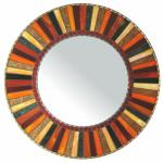 Round Mosaic Mirror - #C22 Materials:  Copper Beads, Glass Mosaic Tile, Stained Glass Colors:  Black, Copper, Red, Orange, Light Orange