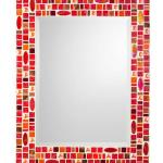 Mosaic Mirror - #R7 Materials:  Glass Mosaic Tile, Stained Glass, Glass Gems Colors:  Red, Orange, Copper, Brown