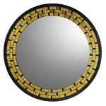 Mosaic Mirror - #C25 Materials:  Glass Mosaic Tile, 24-Carat Italian Gold Glass Tile Colors:  Black, Yellow Gold, White Gold