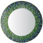 Round Mosaic Mirror - #C12 Materials:   Glass Mosaic Tile, Copper Streaked Glass Tile, Glass Gems Colors:  A variety of shades of blue and green
