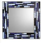 Mosaic Mirror - #S3 Materials:  Stained Glass, Glass Mosaic Tile, Metal Beads Colors:  Purple, Black, Light Periwinkle, Pearl Black, Silver
