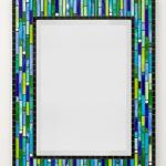 Mosaic Mirror - #R2 Materials:  Stained Glass, Glass Rounds, Recycled Glass Pebbles, Glass Mosaic Tile Colors:  Black, Lime Green, Cobalt Blue, Sky Blue, Apple Green, White, Aqua Blue