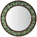 Round Mosaic Mirror - #C5 Materials: Metallic Glass Mosaic Tile, Foil Glass Tile, Glass Gems Colors:  Brown, Sage Green, Metallic Teal, Evergreen, Forest Green, Green