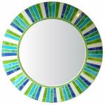 Round Mosaic Mirror - #C23 Materials:  Stained Glass, Crystal Glass Mosaic Tile Colors:  White, Lime Green, Aqua Blue, Blue, Aqua Lime