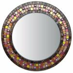 Round Mosaic Mirror - #C6 Materials:  Glass Mosaic Tile, Glass Gems Colors:  Brown, Copper, Red, Orange, Gold