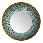Round Mosaic Mirror - #C9 Materials:  Stained Glass, Glass Mosaic Tile, Glass Gems Colors:  Blue, Slate Blue, Brown, Copper-Brown, Ice Blue, Turquoise, Violet-Blue